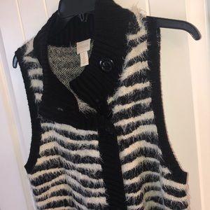 Zebra print sweater vest